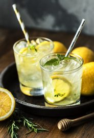 Honey lemon soda beverage photography